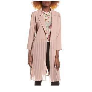 Leith pink pleated duster coat